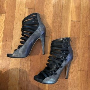 Sexy Pewter & Black Strappy Heels